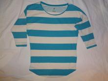 Krásné pruhované bílotyrkysové tričko, h&m,158