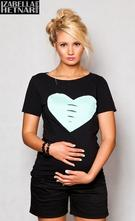 Těhotenské triko/halenka srdce - černé, l / m / s
