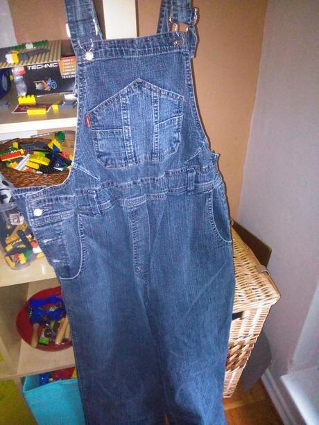 Těhotenské kalhoty - džíny s laclem, l