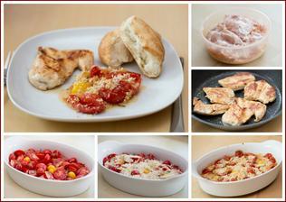 Zapékaná rajčata s bylinkovou krustou, kuřecí naložené v jogurtu, pečivo - dobrota největší!!!