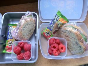 Cereální chlebík, gervais, jarní cibulka, šunka od kosti, okurka; maliny, ovocná tyčinka