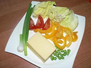 VEČEŘE: tvrdý sýr 30%, zelenina