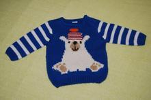 Pletený svetřík s medvědem, f&f,74