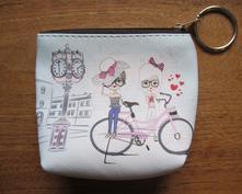 Dětská klíčenka/peněženka - motiv cyklistky,