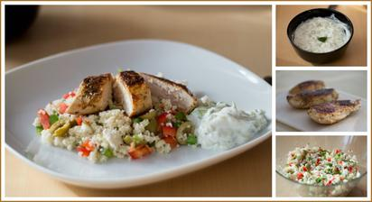 Zeleninový řecký kuskus, kuře, tzatziki - Jamie Oliver 15 minut v kuchyni