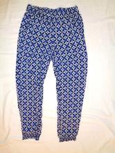 Luxusní modrobílé letní kalhoty do gumky 146/152, h&m,146