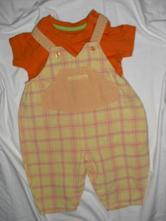 Krásný letní komplet káro laclíků a oranž trička, marks & spencer,68