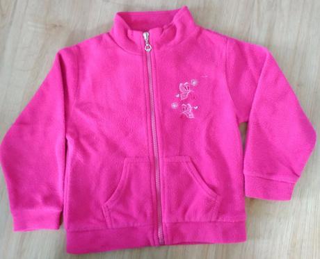 E182. růžová fleecová mikinana zip, 98