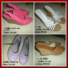 4x baleriny sandály pantofle klín kůže 39-40, 39