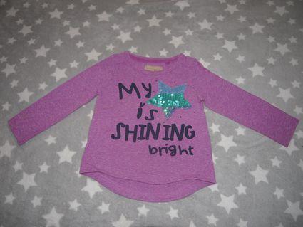 Fialové triko, tričko s flitrovou hvězdou, next,98
