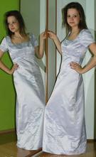Společenské dlouhé plesové světle fialové šaty, 40