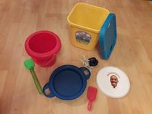 Hračky na písek,do vody-kyblík,sítko,frisbee-talíř,