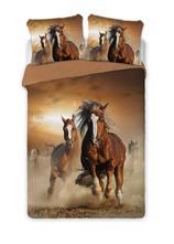 Dětské povlečení 140x200 kone hnědé-skladom,dof-26, 140,200