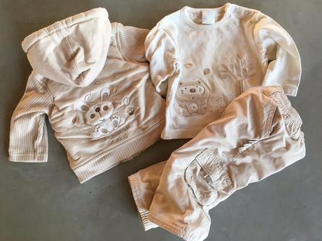 Vyteplená souprava bundička, kalhoty, tričko 6-12m, zip zap,74