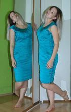 Společenské krátké lahvově zelené šaty, 42