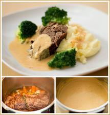 Hovězí pečeně s hořčično-křenovou omáčkou, bramborová kaše, brokolice - dnešní výborný oběd
