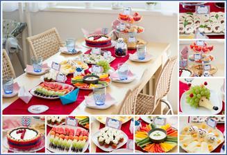 Oslava 1 roku :-) (nepečený dort, ovocné špízy, caprese špízy, zeleninový talíř a česnekový dip, sýrový talíř a vaječné myšky, hruškový ježek, kuřecí roládky, plněné grepy, koblížkové muffinky, jablečný koláč a lískové oříšky v hořké čokoládě)