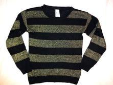 Módní pruhovaný černozlatý svetr , c&a,134