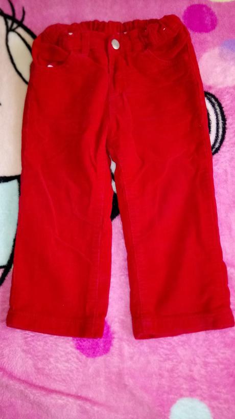 Podzimní červené kalhoty vel.86, 86