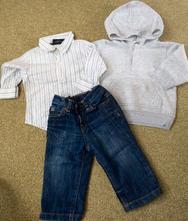 Setík - mikinka, frajerská košile, džíny, next,74