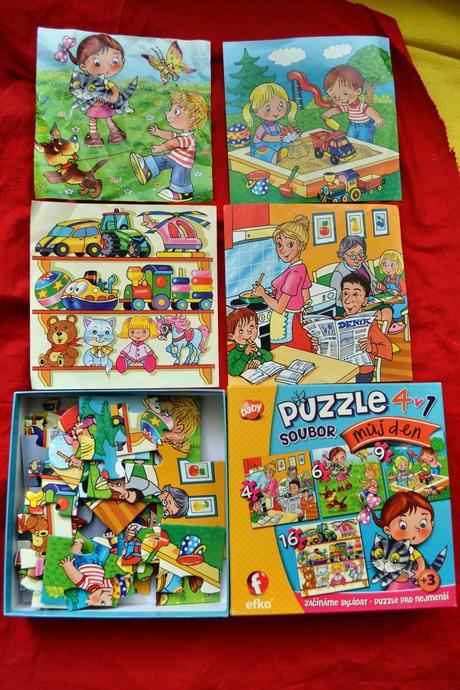Soubor puzzle 4v1v krabici,
