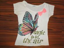 Nádherné bílé tričko s motýlem a mašlí s/m, terranova,s