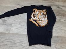 Dívčí černý delší svetr s tygrem vel. 116 - 122, kiki&koko,116