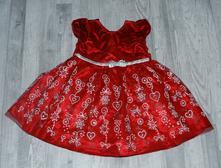 Slavnostní sváteční červeno-stříbrné vánoční šaty, 98