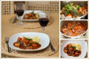Hovězí maso na víně se zeleninou, bramborové pyré s pastinákem