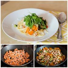 Špagety s lososem a zeleninou