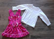 Nové společenské růžové šaty s bílou halenkou/trič, 86 / 92