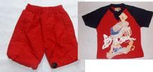G244 kraťasy/plavky/bermudy + e120 super tričko, 74