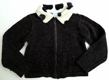 Propínací svetr svetřík s chlupatým límečkem v 104, 104