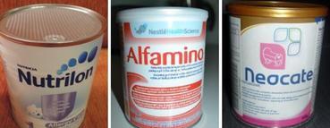 Některá z umělých mlék vhodných při kvasinkové infekci u dětí