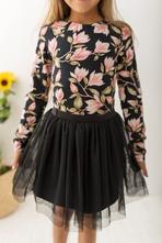Černé dívčí body s dlouhým rukávem magnolie, 98 - 140