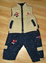 Komplet vyteplené kalhoty s vestou, 74