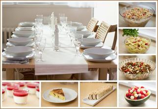Pohoštění na křtiny: slepičí vývar s domácími nudlemi (dělala babička), sekaná (dělala babička), 3 druhy salátů - těstovinový se zeleninou, těstovinový caprese, čočkový, panna cotta, obrácený jablečný koláč, bebe řezy, ovocný kuličkový salát
