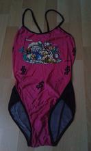 Dívčí plavky - růžovo-černé, 146