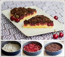 Koláč s třešněmi a kakaovou drobenkou