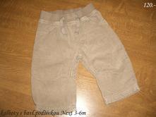 Kalhoty - manžestráky vyteplené 3-6m, next,62