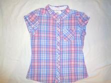 Luxusní vzdušná káro košile - růžovomodroučká, h&m,152