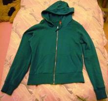 Zelená mikina na zip s kapucí, m