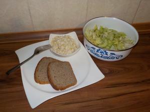 VEČEŘE: tvarůžková pomazánka (tvarůžky, lžíce Alsanu, lžíce jogurtu), celožitný chléb, salát (ledový salát + okurka)