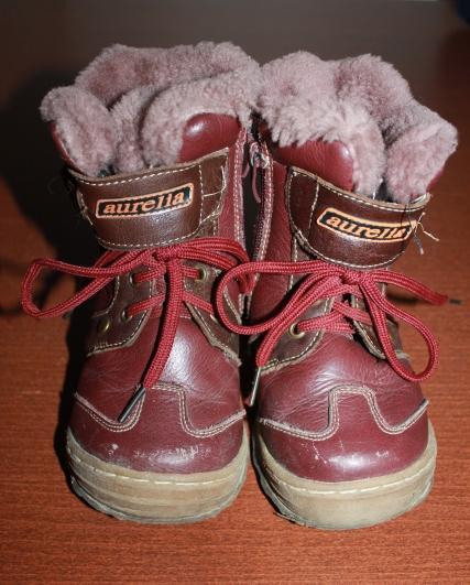 Vínové zimní boty / kozačky s kožíškem, 22