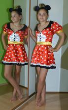 Karnevalové saténové šaty minnie+čelenka,