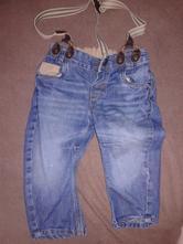 Riflové kalhoty s kšandami, h&m,74