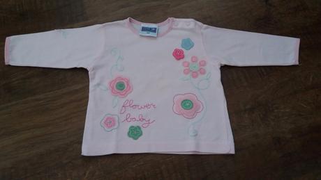 Růžové triko s kytičkama, topolino,68