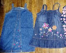 2 x džínové šaty vel 98+80, 98
