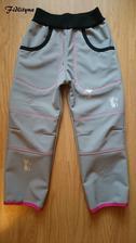 Zimní softky pro naši malou kamarádku, v.110-116, barva antracit, prošev růžový neon