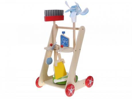 Dřevěný úklidový vozík s doplňky eco toys,